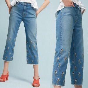 Anthropologie Pilcro Embroidered Floral Cropped Jeans